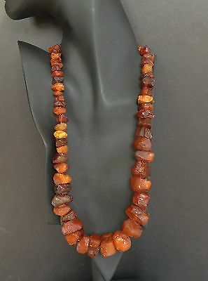 """Vintage Baltic Amber Bead Necklace 23.5"""" 94.1 Antique Raw HUGE CHUNKY Cognac"""