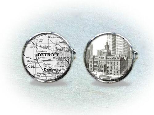 Vintage Detroit Map Cufflinks