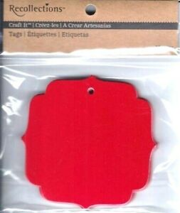 Hang-Tags-by-Recollections-Pack-of-20-Red-Card-Stock-Paper-3-034-x-3-034-Lovely-NIP