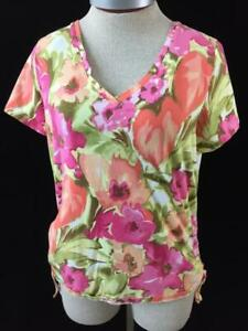 Caribbean-Joe-knit-top-size-M-medium-bright-floral-ruched-sides-with-ties-pink