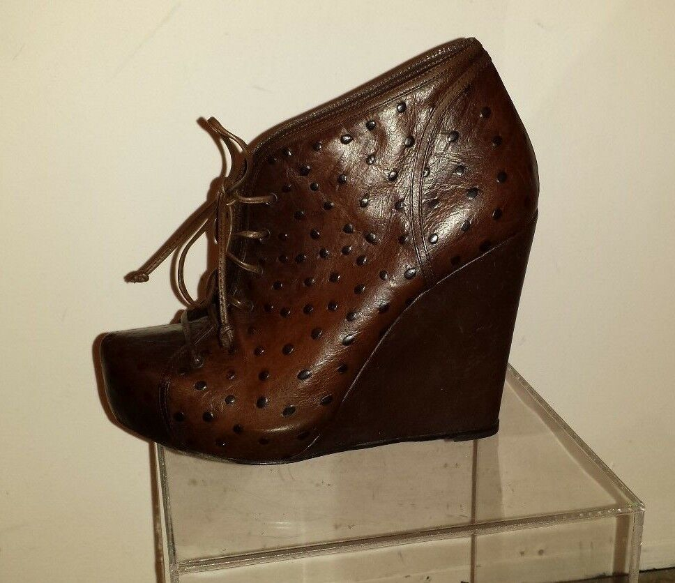 JENNI KAYANE BROWN WEDGE ANKLE BOOTS size 7 made in