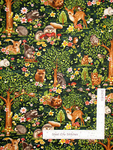 Forest-Babies-Baby-Animal-Deer-Bunny-Trees-Green-Cotton-Fabric-Oasis-By-The-Yard