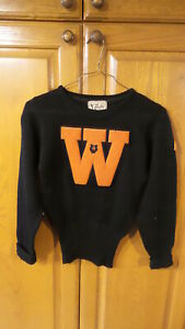 1941 All Wool Rugby Knitting Mills Letter Sweater W Music Black Orange Ebay