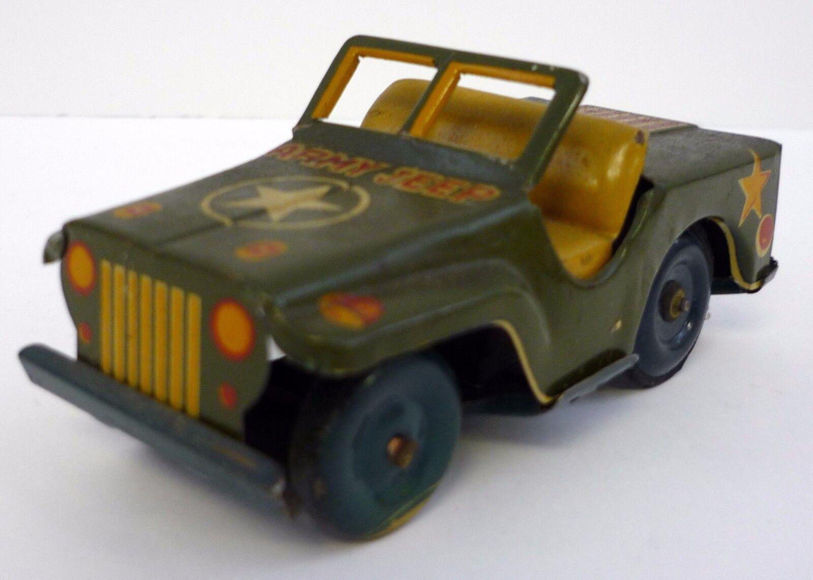 Us Army Jeep Vintage Tirare Indietro Scatola di Latta Giocattolo Veicolo 10.2cm
