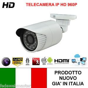 TELECAMERA HD IP 1.3 MPX VIDEOSORVEGLIANZA 960P 5 MM 24 LED NOTTURNI BULLET NVR