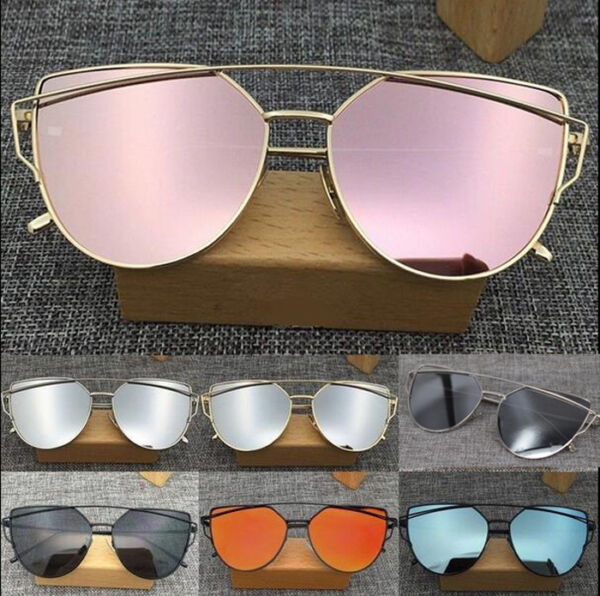 ea66f5f00d Hover to zoom · Women s Flat Lens Mirror Fashion HOT Sunglasses Metal Frame  Oversized ...