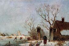 Original oil on tile painting/Louis Apol style art/Dutch winter landscape scene