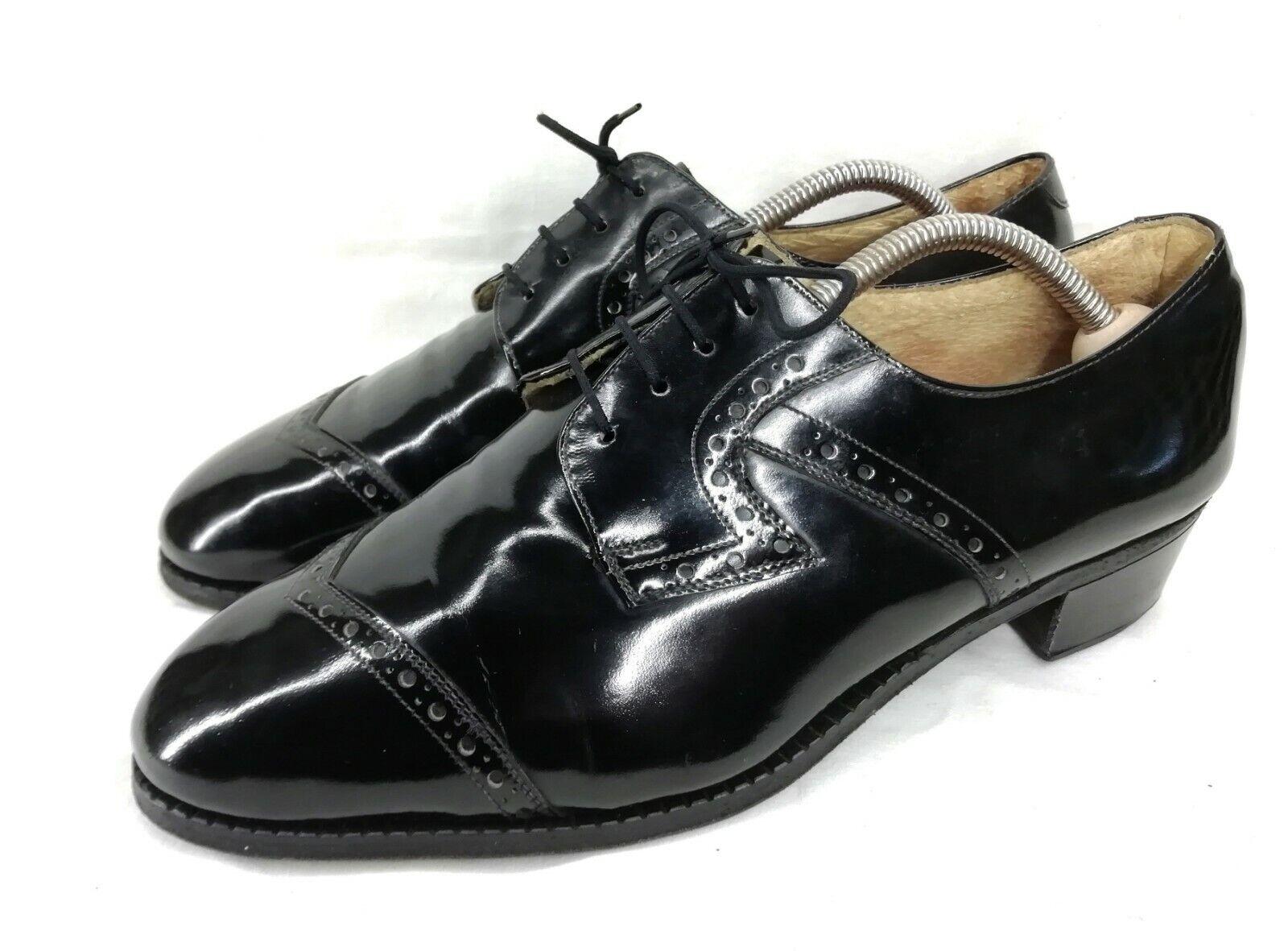 ALTE Ungarische Schnürschuhe Herrenschuhe Schwarz Lackleder Hoher Absatz 41,5 42    | Schnelle Lieferung