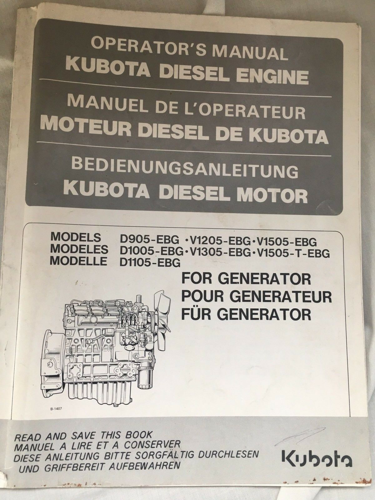 Kubota Diesel Engine Operators Manual D905 V1205 ...
