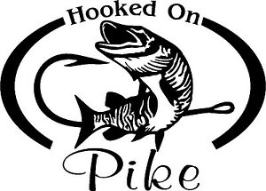 HOOKED ON WALLEYE Fresh water fish fishing trip lure Car Wall Decal//Sticker Lrg