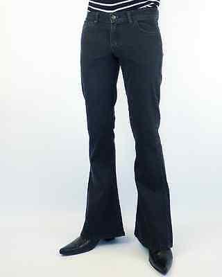 NEW Unisex BLACK DENIM FLARES Black Stonewash 60s 70s Retro Stretch Flared Jeans