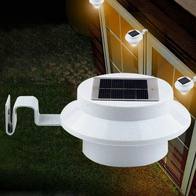 Solar Powered 3 LED Gutter Fence Door Wall Lights Outdoor Garden Lamp White