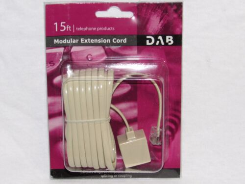PHONE LINE COUPLING 15 Ft Phone Telephone Extension Cord Cable Ivory New