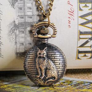 1 Bronze Tone Necklace Chain Cat Quartz Pocket Watch 84cm (33-1/8)