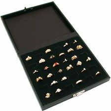 36 Slot Ring Tray Display Black Travel Jewelry Showcase