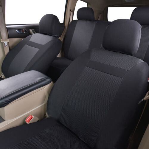 New Jacquard Black Car Seat Covers Washable Airbag Auto Breathable Protector