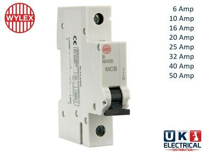 Wylex NHX Range MCB Circuit Breaker B Type 6a//10a//16a//20a//32a//40a//50a 6ka
