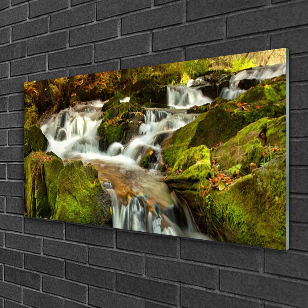 Tableau sur verre Image Impression 100x50 Nature Rochers Cascade