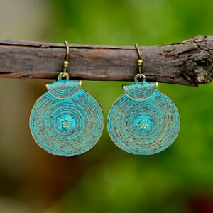 Vintage-Women-039-s-Fashion-Bronze-Spiral-Round-Flowers-Carved-Drop-Dangle-Earrings