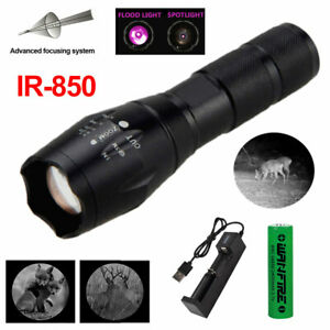850nm Infrared IR LED Hunting Flashlight Outdoor Torch Red Night Vision Lamp 5W