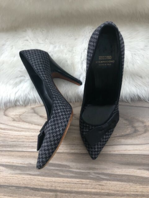 128152b0cc2e Moschino Houndstooth High Heel Shoes Size 7.5 Gray Grey Cheap Chic ...