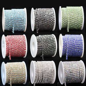10yard-ss6-ss12-ss16-Color-Crystal-rhinestone-silver-close-chain-sewing-trim-DIY