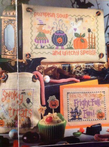 Halloween Hanging Card Treat Bag Witch Ghost Cauldron Spells Cross Stitch Chart