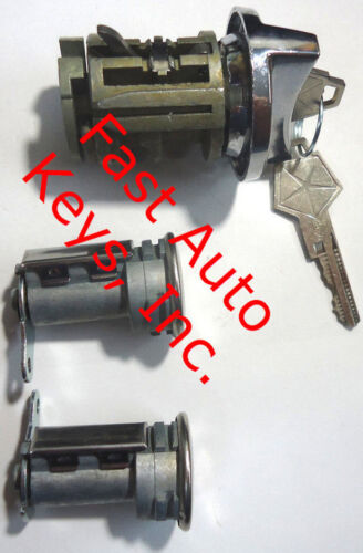 Pair Door Lock Cylinder W//2 Logo Keys Dodge Ignition Switch Lock Cylinder