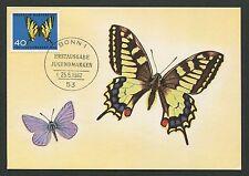 BUND MK 1962 SCHMETTERLINGE BUTTERFLY MAXIMUMKARTE CARTE MAXIMUM CARD MC d4575