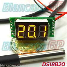 MINI TERMOMETRO DIGITALE -55°C 125°C LED GIALLO DS18B20 SONDA WATERPROOF auto DC