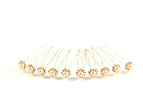 10 x aghi per capelli sposa matrimonio testa Gioielli Gioielli per Capelli Beige Perle Strass b017b