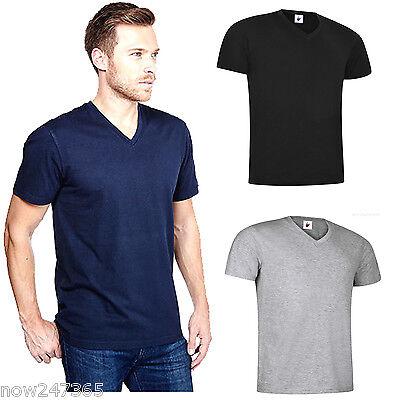 3 Pack Mens Plain 100/% Cotton V Neck T Shirt Tee Vest Top S M L XL 2XL 3XL 4XL