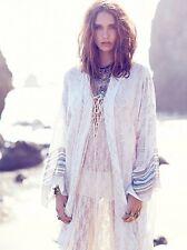 Free People FP One White Ivory Patterned Boho Festival Kimono Jacket XS/S Rare