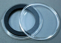 100 Airtite 30mm Black Ring Coin Holder Capsules For Half Dollars