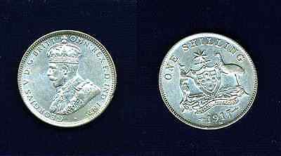 "Australia George V 1917-m Shilling Silver Coin Pre-decimal ""xf"" To ""almost Uncirculated"" Clear-Cut Texture"