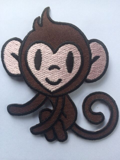 MONKEY PATCH, very mischievous! Heart Face, SEW-ON / IRON-ON **BN** embroidered