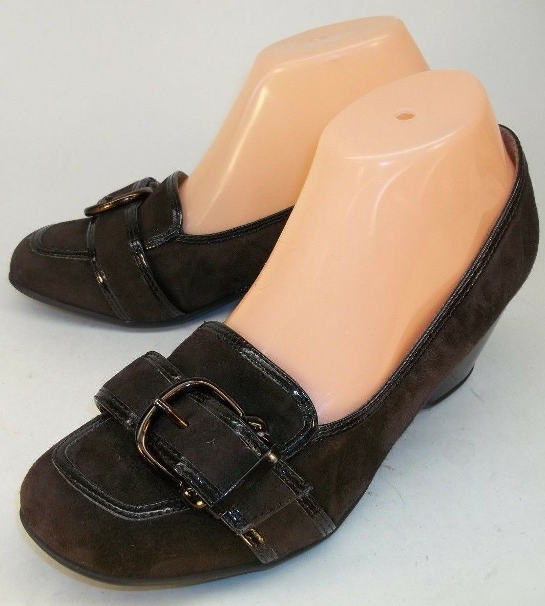 Euro Soft x Sofft Wo's US 8M Brown Suede Slip-On Buckle Loafer Wedge Heel shoes