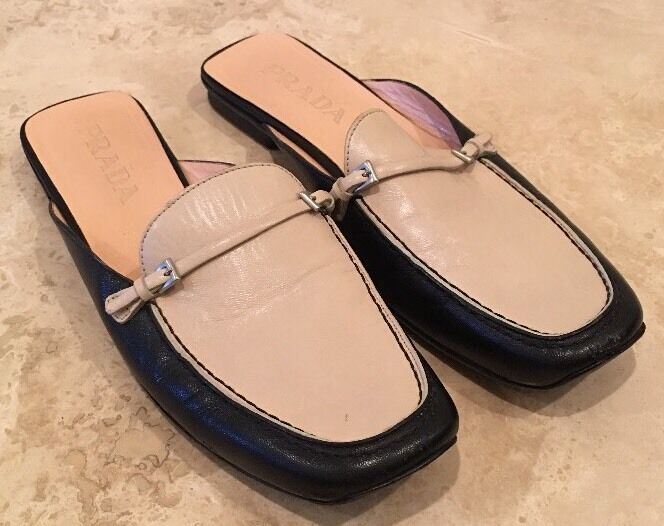 PRADA Black Cream Leather Slide Flats Equestrian Horse Bit 40 9.5M ITALY