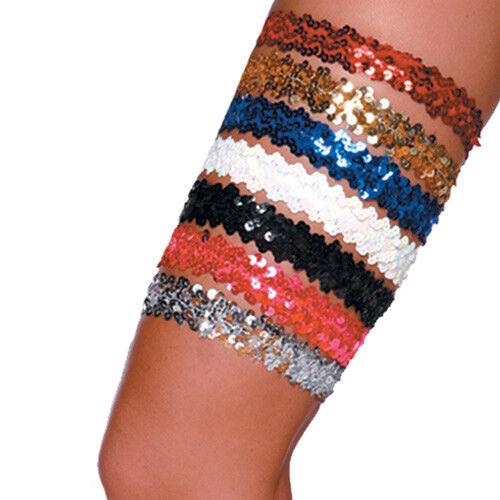 Sequin Leg Garter Silver One Size Exotic Dancer Wedding Stripper 1 Inch Wide
