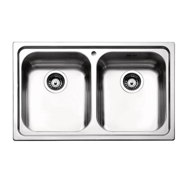 Lavello da cucina acciaio inox satinato doppia vasca incasso Apell ...