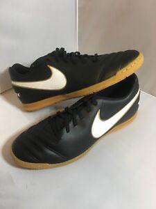 Nike-Tiempo-Rio-III-IC-Indoor-Soccer-Men-s-Size-10-5-Shoes-Black-Gold-819234-010