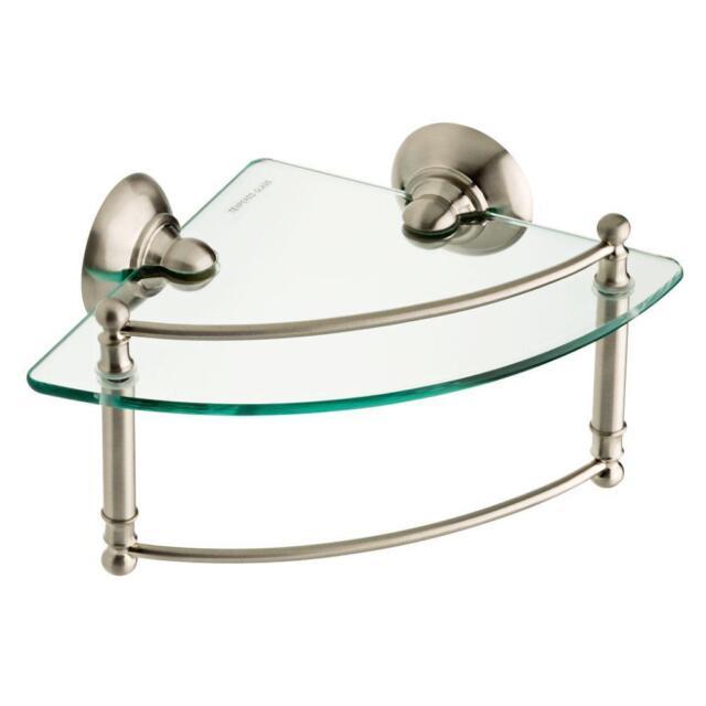 Delta 8 In. Glass Corner Shelf With Hand Towel Bar in SpotShield ...