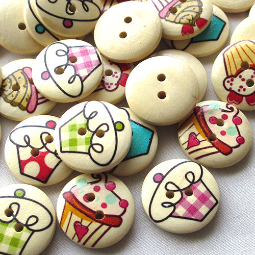 New 50pcs Ice Cream Wood Buttons 20mm Sewing Craft 2 Holes Wholesales T0756