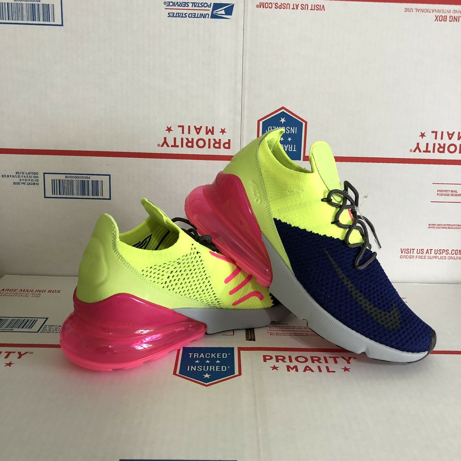 Nike Air Max 270 Flyknit Size 10 Multi-color Pink Running Gym shoes AO1023-501