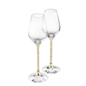 New-Pair-of-Gold-Swarovski-Crystal-Filled-Wine-Glasses-Golden-Shadow-Red-White
