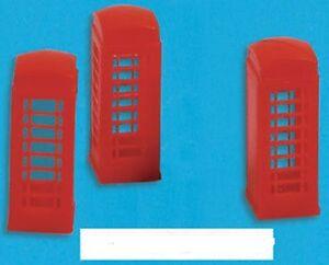 Parts & Accessories Modelscene 5190-3x Red Telephone Cajas 'n' Escala Kit De Plástico