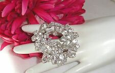 Vtg Eisenberg Rhinestone Pin Brooch Clear Stones Marquise Chatons Pave'