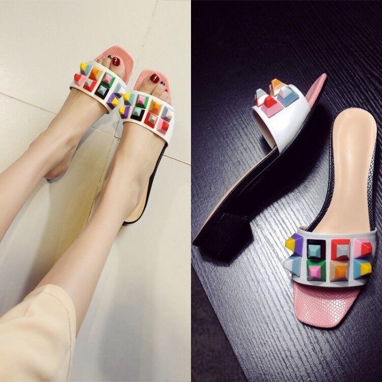 Da Donna con Multi-Colore Blocco Tacchi Scarpe Sandali Ragazze Casual Rivet Scarpe Tacchi Spiaggia Top 32faa8