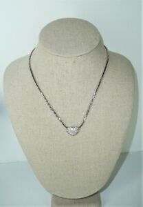Authentic-Swan-Signed-Swarovski-Heart-Crystal-Stones-Necklace-in-Silver-Tone