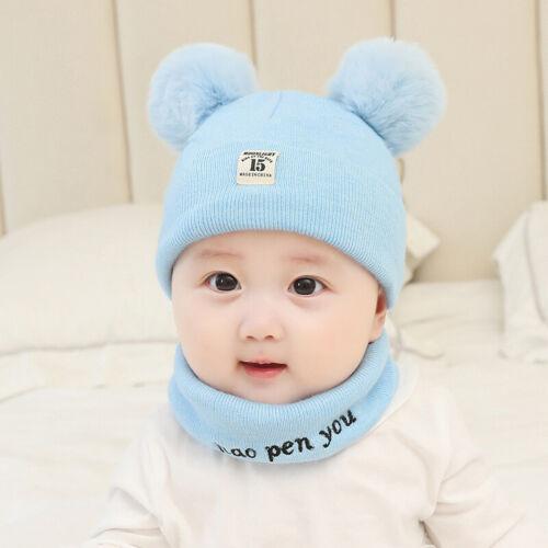 Scarf Set Beanie  Infant  Toddler Kids Girl/&Boy  Winter  Hat  Knit  Baby  Cap